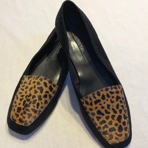 Enzo Angiolini Black/ leopard leather loafers, 7.5